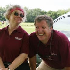Mary Owen and Randy Prostak share a light moment