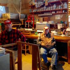 Norma and Russell Davenport sugaring, 4th and 5th generation, Shelburne, MA
