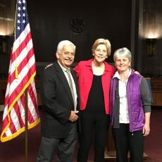 Ken Nicewicz, Senator Elizabeth Warren, and Sonia Schloemann on Capital Hill for CARET meetings