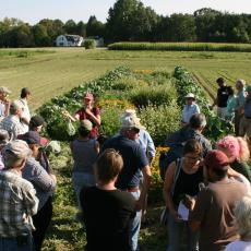 Susan Scheufele, UMass Extension educator, in field with growers