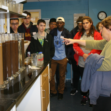 Tracy Allen offers tour of Soil Laboratory to Envirothon students