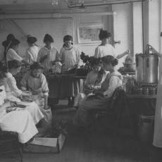 Class in canning vegetables, early 1900's.