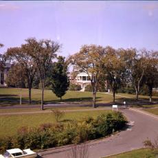 Ellis Drive on UMass Amherst campus, ca. 1960