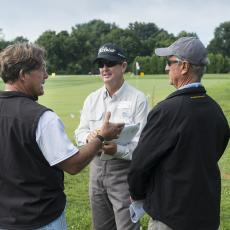 Turf Field Day 2017: Dr. Scott Ebdon chats with attendees.