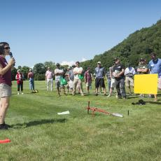 Turf Field Day 2017: Dr. Angela Madeiras demonstrates sample collection methods for accurate disease diagnosis