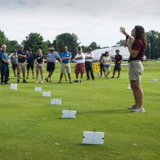 Turf Field Day 2019: Research Associate Michaela Elliot spoke on fairway rolling for dollar spot suppression