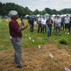 Turf Field Day 2019: Dr. Prasanta Bhowmik presented research on novel weed control in turf systems