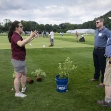 Turf Field Day 2021: Dr. Amanda Bayer shared research results on planting of native and non-native shrubs.
