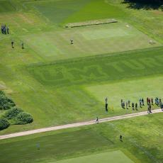 Aerial view of 'UMTurf' display plot at the Joseph Troll Turf Research Center
