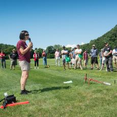 Dr. Angela Madeiras, Extension Educator and Diagnostician, speaks at the Joseph Troll Turf Research Center about the importance of good sampling for disease identification