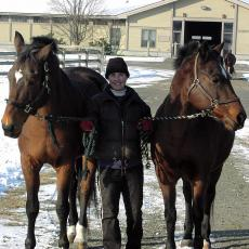 A student with two horses at the Hadley Farm