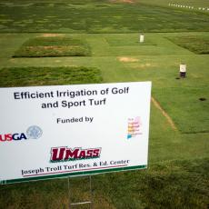 Photo of a research plot used to assess water use of recreational turf at the Joseph Troll Turf Research Center