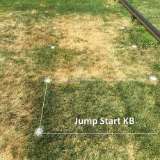 Turfgrass drought tolerance research plots at the Joseph Troll Turf Research Center.