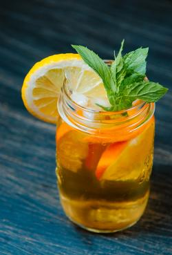 iced tea with mint leaves