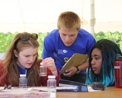 Students examine water at MA Envirothon