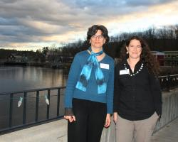 Eve Vogel and Christine Hatch at Deerfield River for release of River Smart Report