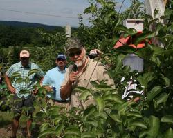 Jon Clements explains IPM at Mass Fruit Growers Assoc meeting