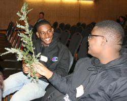 Marvens LaPointe and Guerschon Noel, Brockton High School, identify tree branches