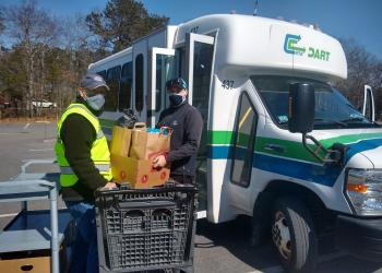 Food being loaded onto RTA van for distribution on Cape Cod. Photo: Christ the King Food Pantry, Mashpee