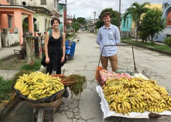 UMass Amherst students in Cuban open air market