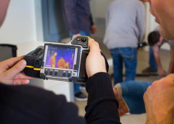 UMass Energy Corps class uses infrared camera to check thermal imaging