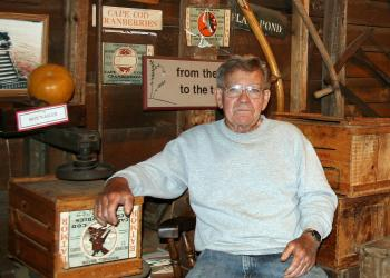 Jack Angley, Flax Pond Farm cranberry grower, in his shop, Carver, Mass