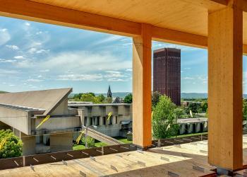 UMass Design Building under construction view over campus. Photo: Alex Scheyer