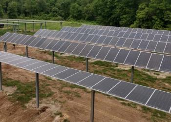 dual use PV array in farm field