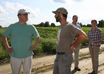Congressman Jim McGovern visits Atlas Farm with owner, Gideon Porth