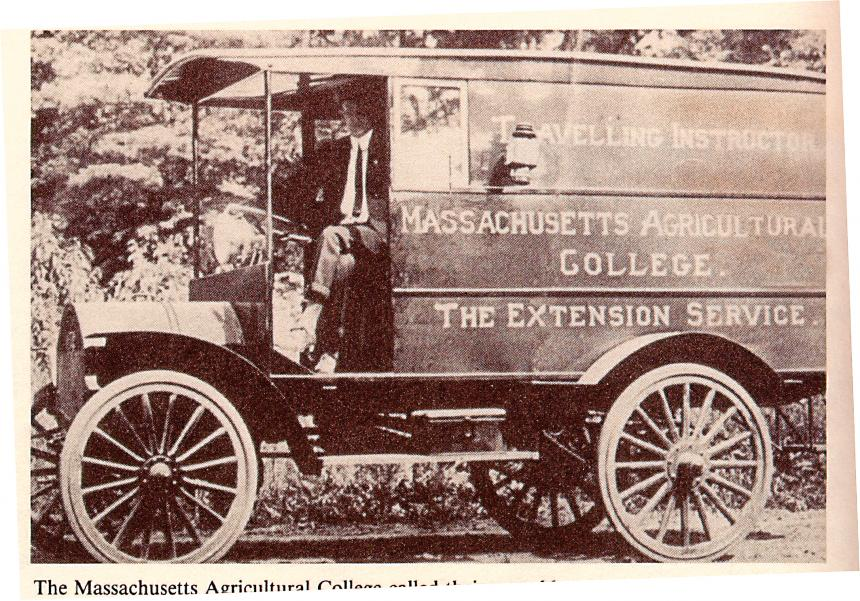 Archival photo of Massachusetts Extension Service mobile teaching unit