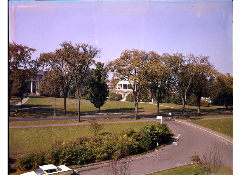Ellis Drive on UMass Amherst campus, ca. 1960