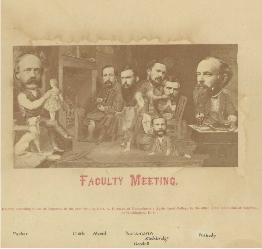 Novelty photo of faculty meeting, 1871