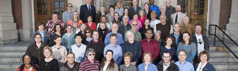 2014: Faculty and staff of the Center for Agriculture, Food and the Environment (CAFE) gather on the iconic steps of Stockbridge Hall. This group represents about one-sixth of those who work with and for CAFE.