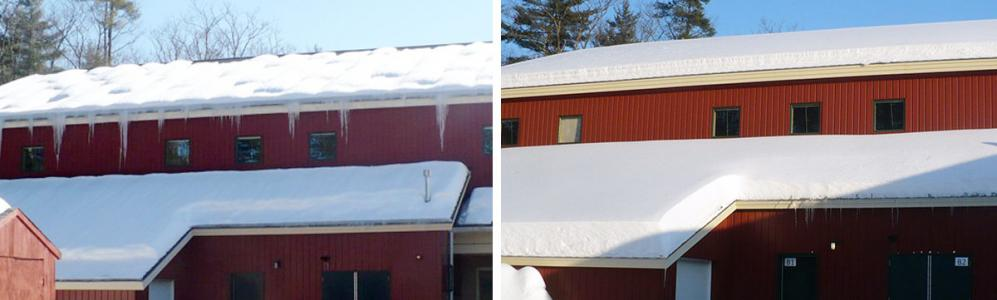 Before and after ice dam on Warwick Elementary School
