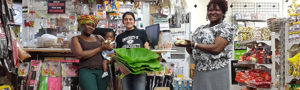 Zoraia Barros,UMass Amherst with latest produce at Worcester's Monrovia African Market