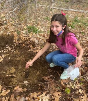 Hailey Gallagher, Girl Scout Troop 62407 plants tree for the future