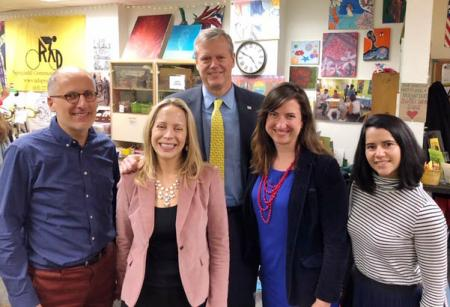 Tour of Maker Space(L to R): LARP Professor Michael DiPasquale, Co-Founder of Make-It Springfield, Karen Finn, Director, Springfield Cultural Partnership, Governor Charlie Baker, MassDevelopment Senior Fellow Laura Masulis, Co-founder of Make-It Springfield, Lara Furtado, Research Assistant, UMass PhD candidate, Regional Planning.