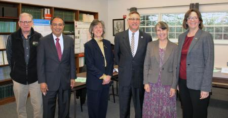 Chancellor Subbaswamy visits Cranberry Station. John Lebeaux; Commissioner of Agriculture; Chancellor Subbaswamy; Hilary Sandler, Director, Cranberry Station; Senator Michael Rodrigues; Jody Jellison, Director, CAFE; Tricia Serio, Dean, College of Natural Sciences