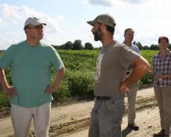 Congressman Jim McGovern visits Atlas Farm with owner, Gideon Porth