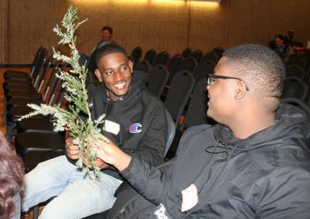 Marvens LaPointe and Guerschon Noel, Brockton High School, identify tree branches