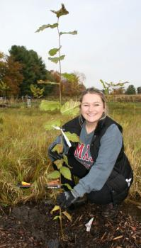 Tara McElhinney plants elm tree in Dakin Field