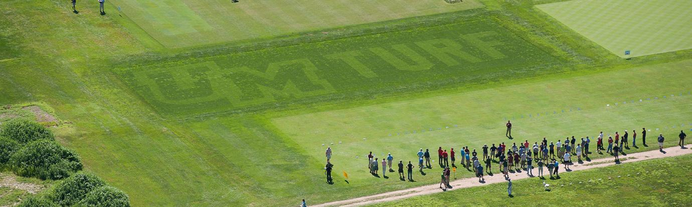 Aerial view of 'UMTurf' display plot at the Joseph Troll Turf Research Center (photo by Ben Barnhart).