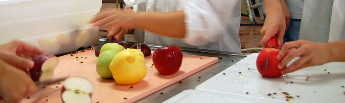 Preparing food in a commercial kitchen