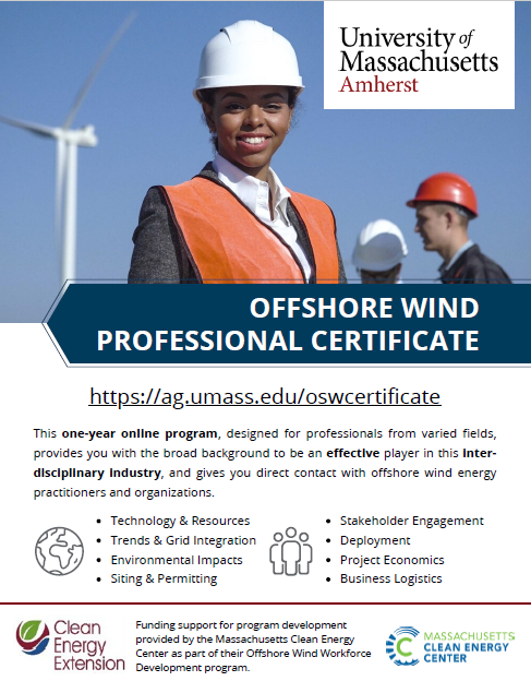 UMass Offshore Wind Professional Certificate flyer