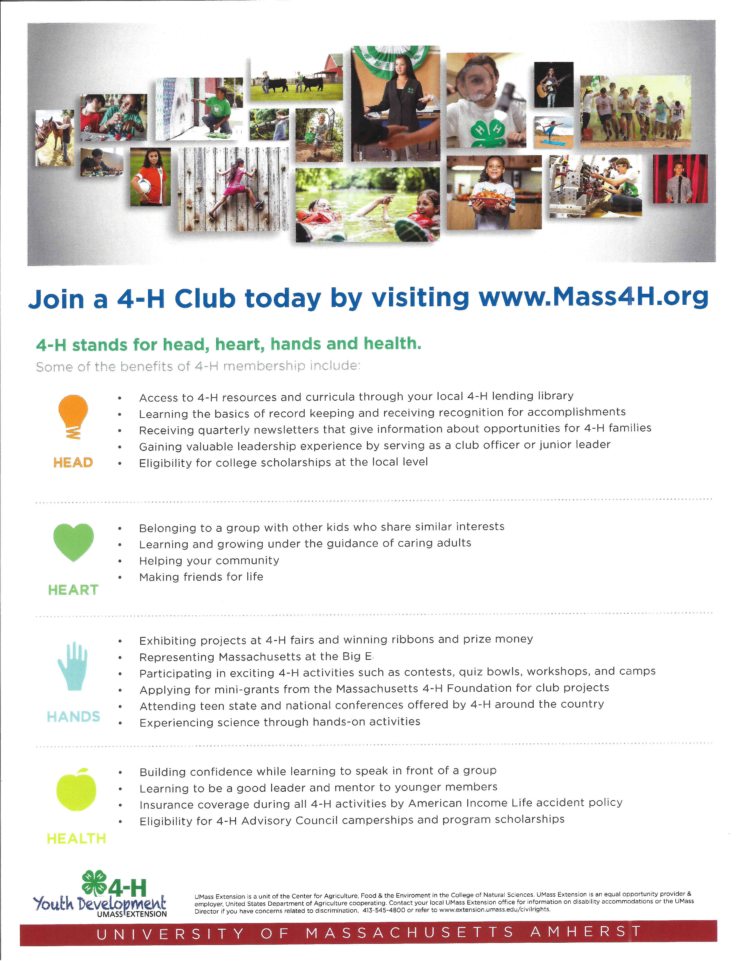 Benefits of joining Mass 4-H